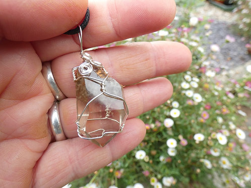 Amphibole Quartz aka Angel Phantom Quartz Natural Crystal Pendant or Amulet