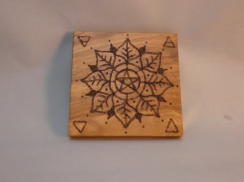 Manifestation Grid with Crystals on Vintage Olive Wood - pocket / travel size