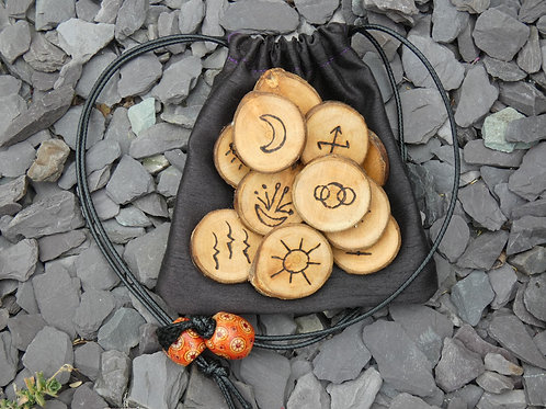 Witches Runes crafted from English Cherry Wood