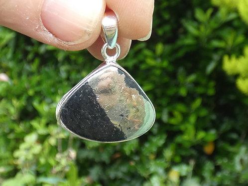 Healers Gold Crystal Pendant set in sterling silver on adjustabl