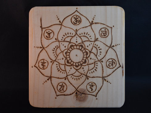 Recycled Wood Crystal Grid with Chakra mandala design