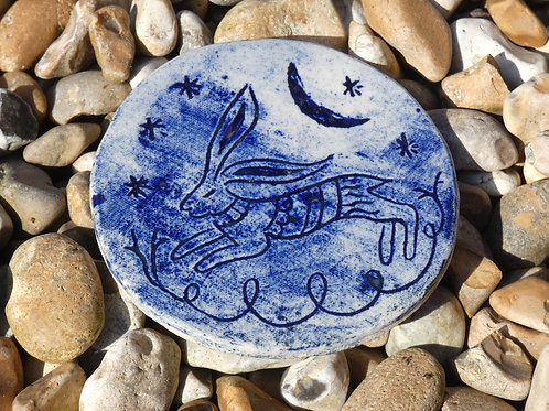 Ceramic Jumping Hare with Moon Amulet or Altar Decoration-  Pagan, Wicca, Ritual