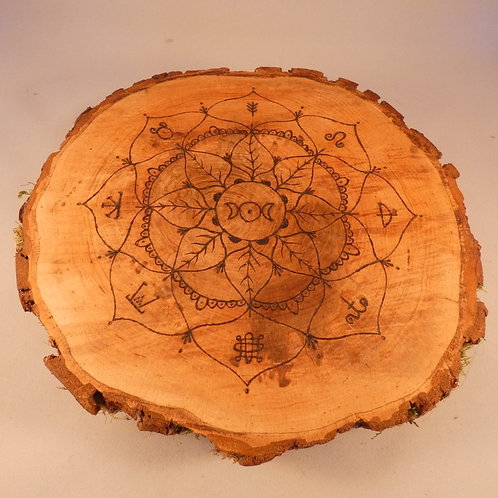 English Alder Wood Crystal Grid with Triple Moon and Wheel of the Year design