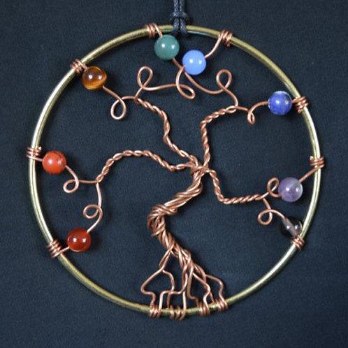 Chakra Tree of Life Amulet with Crystal Beads - medium size