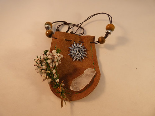 Charm or Medicine Pouch with Sun Energy, Quartz Crystal and Lucky Heat