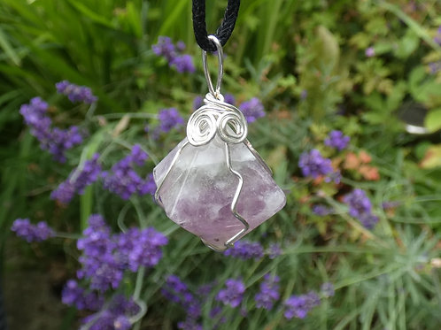 Fluorite Octahedron Crystal Pendant Wire Wrapped crystal on adjustable cord