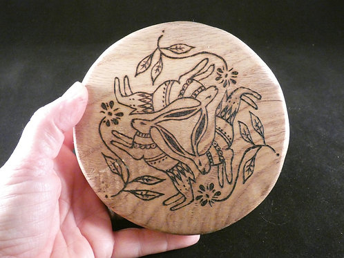 Three Hares amulet on English Oak wood with pyrography design - Pagan, Wicca