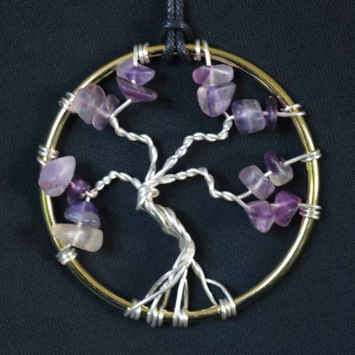 Tree of Life Twisted Amulet with Fluorite Crystals - small size