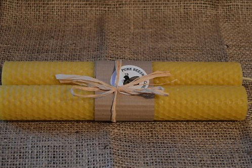 "Pair of Beeswax Candles hand rolled approx 8""/20cm high x 1""/25mm wide"
