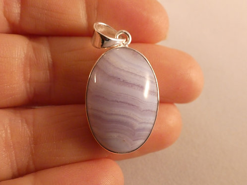 Blue Lace Agate Crystal Pendant or Amulet set in sterling silver