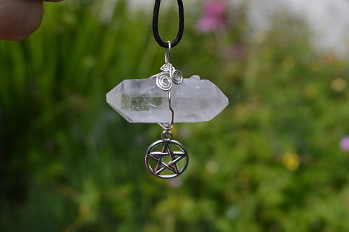 Quartz Double Terminated Pendant with Pentacle charm