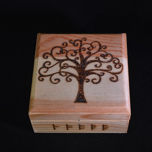 Wooden Altar Manifestation Box with Tree of Life