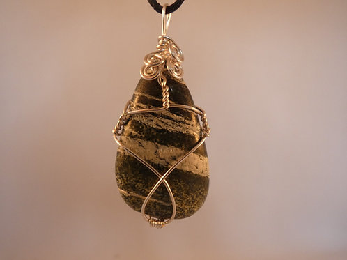 Chrysotile in Serpentine Crystal Pendant Wire Wrapped crystal on adjustable cord