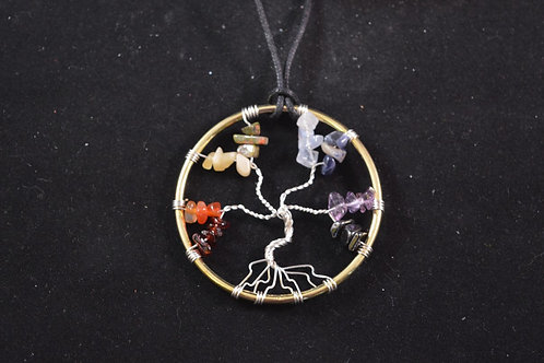 Chakra Tree of Life Amulet with Crystal Chips - small size