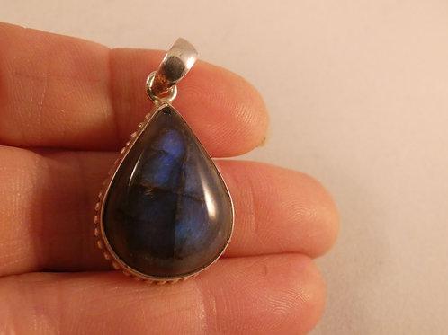 Labradorite Crystal Pendant or Amulet set in silver