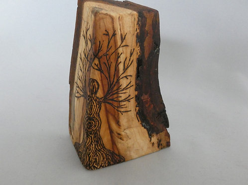 Wooden Amulet on English Plum Wood with Goddess Tree design