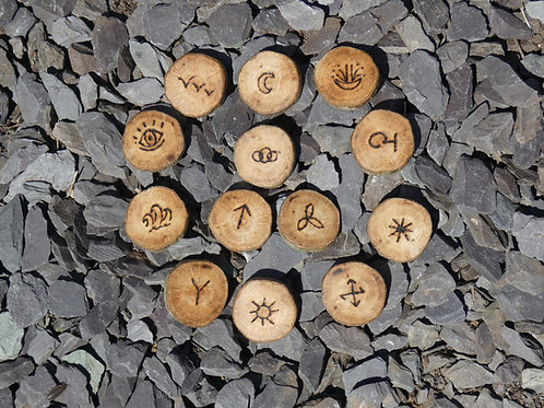 Witches Runes crafted from English Oak Wood