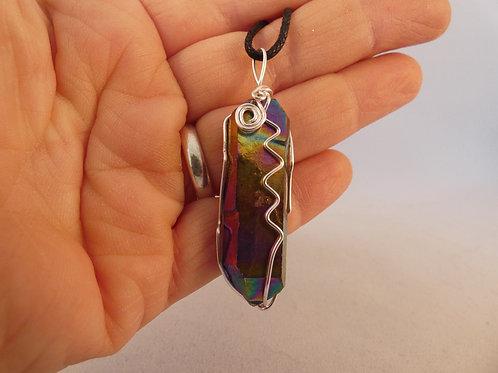 Rainbow Titanium Aura Quartz Crystal Pendant or Amulet