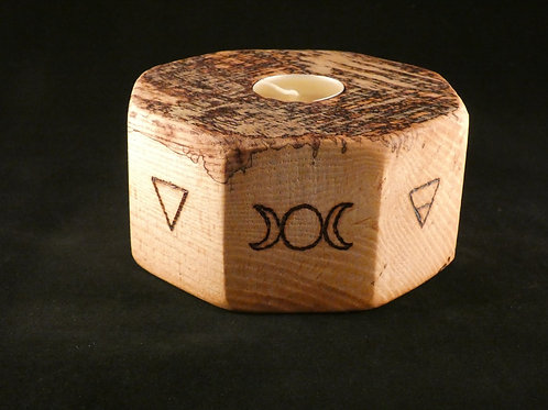 Ash Wood Night Light Holder with Pagan and Alchemical symbols