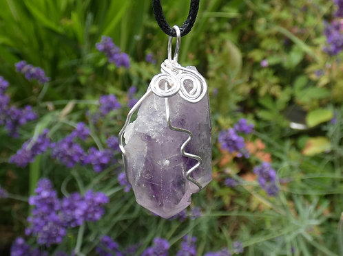 Brandberg Amethyst Crystal Pendant Wire Wrapped crystal