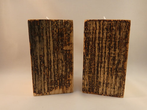 Ash Wood Night Light Holders (pair) 13cm with natural spalting