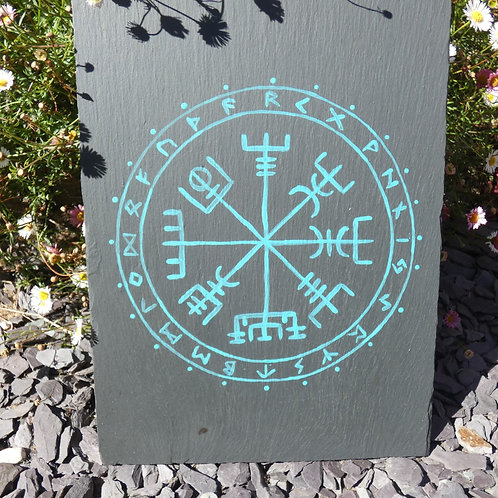 Hand Painted  Vegvísir or Viking Compass Original Painting on Recycled Slate
