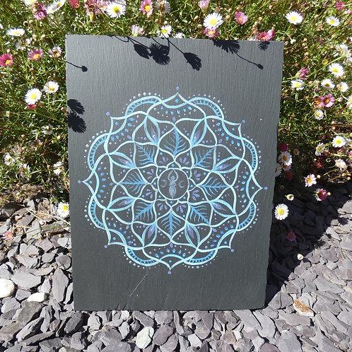 Mandala with Triple Moon Goddess Original Painting on Recycled Slate