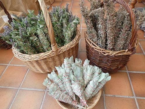 3 English Smudge Sticks with Mugwort, White Sage, Rosemary & Lavender