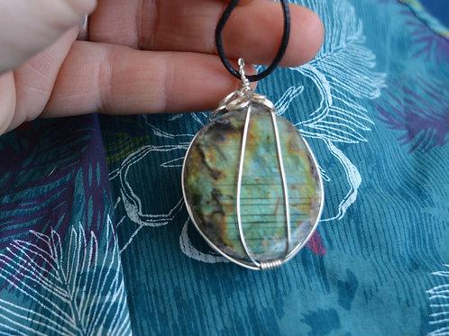 Labradorite Crystal Pendant or Amulet on adjustable cord