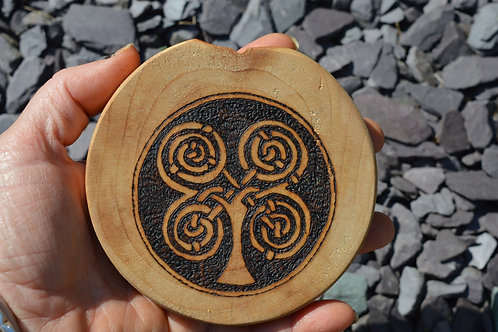 Celtic Tree amulet on found wood with pyrography design