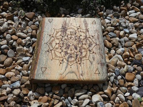 English Ash Wood Crystal Grid with pyrography element mandala design