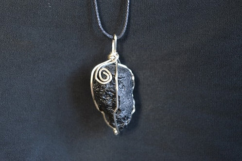 Tektite Crystal Pendant Wire Wrapped raw crystal on adjustable cord