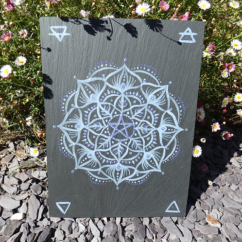 Mandala with Pentacle and Peacock symbols Original Painting on Recycled Slate