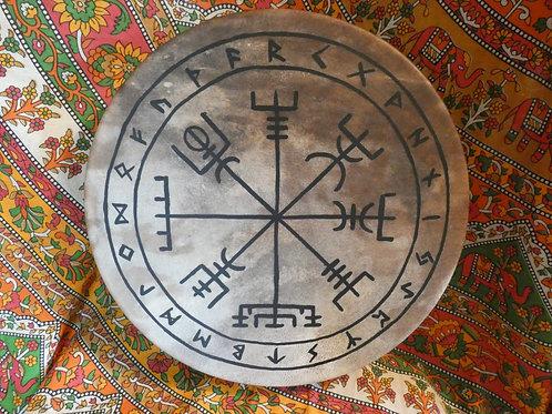 "Shamanic Drum with Vegvísir Symbol and Beater 14"" Round Brown"