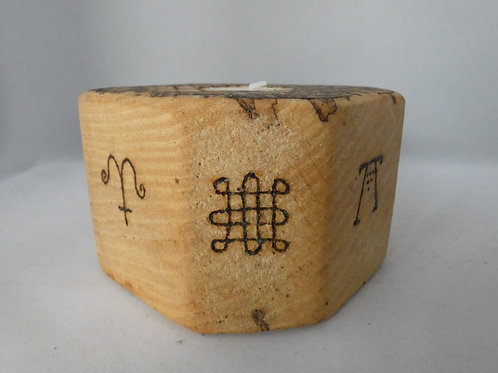 Ash Wood Night Light Holder with Pagan Wheel of the Year symbols