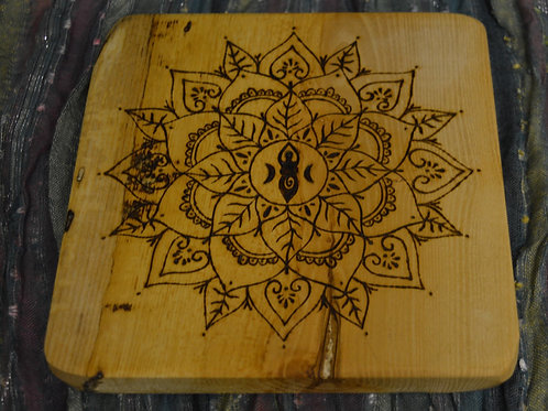 Wooden Crystal Grid made from English Ash Wood with Triple Moon Goddess