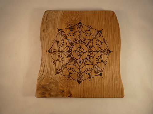 English Oak Wood Crystal Grid with Witches Knot mandala design