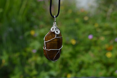 Tigers Eye Crystal Pendant Wire Wrapped crystal on adjustable cord