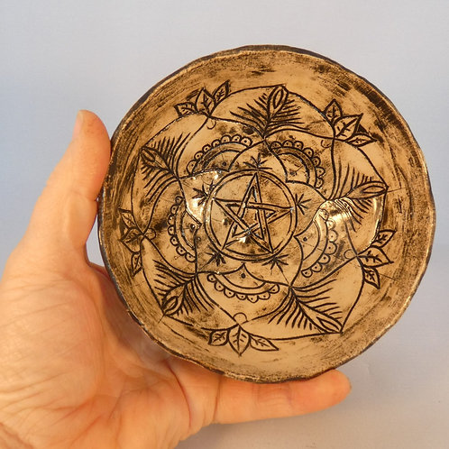 Ceramic Offering Bowl or Altar Decoration with Pentagram Mandala design