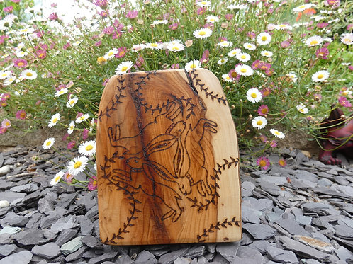 Wooden Amulet on English Yew Wood with Three Hares