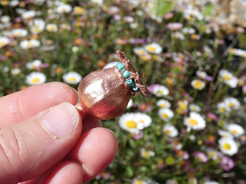 Dried Poppy Seed Head and Copper Alchemy Energy Amulet