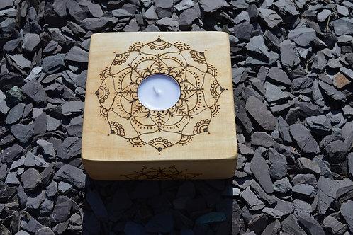 Bass Wood Night Light Holder with Mandala pyrography design