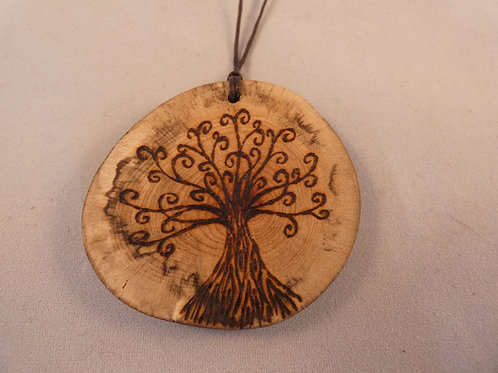 Wooden Amulet with Tree of Life on Found Wood pyrography design