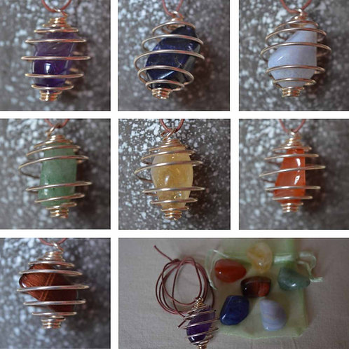 Chakra Crystal Pendant Tumblestone in silver metal spiral cage on adjustable cor