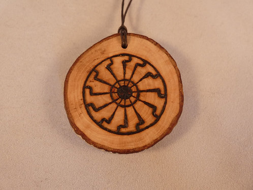 Wooden Amulet with Pagan Sun Wheel Symbol on Found Wood pyrography design