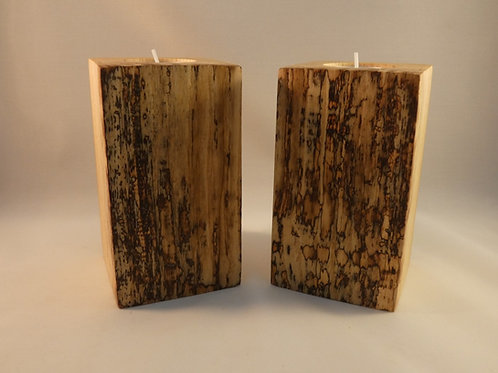 Ash Wood Night Light Holders (pair) 12.5cm with natural spalted patterns