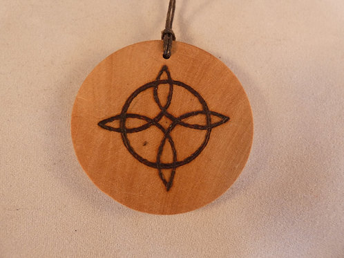 Wooden Amulet with Witches Knot Symbol on Found Wood pyrography design