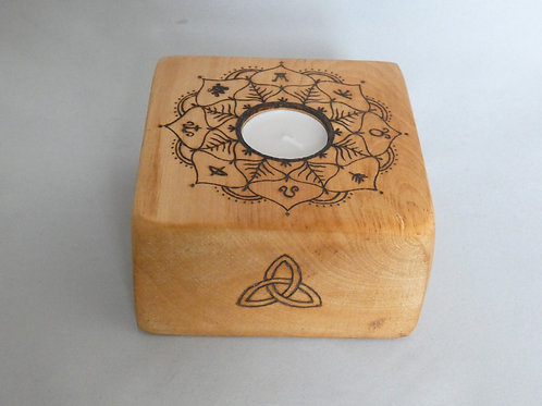 Sycamore Wood Night Light Holder with Wheel of the Year design
