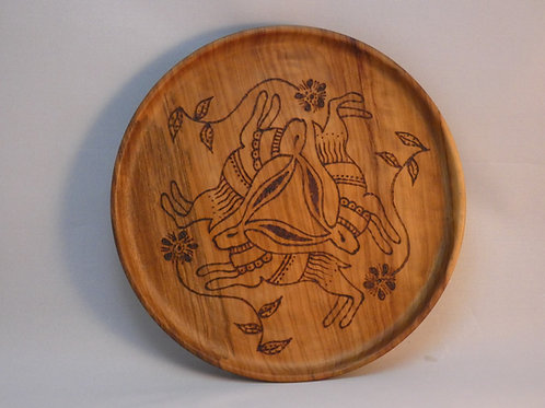 Three Hares on Vintage Olive Wood Offering Plate - Pagan, Wicca, Rituals