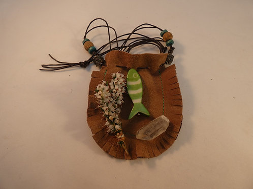 Charm or Medicine Pouch with Fish Energy, Quartz Crystal &